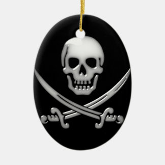 Glassy Pirate Skull & Sword Crossbones Christmas Ornament