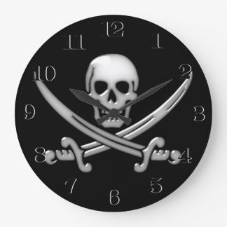 Glassy Pirate Skull & Sword Crossbones Large Clock