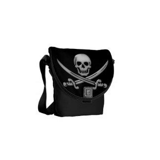 Glassy Pirate Skull & Sword Crossbones Messenger Bag