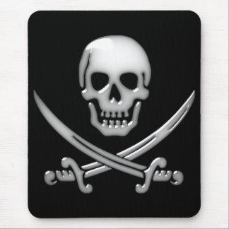 Glassy Pirate Skull & Sword Crossbones Mouse Mat