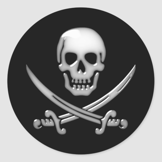 Glassy Pirate Skull & Sword Crossbones Round Sticker