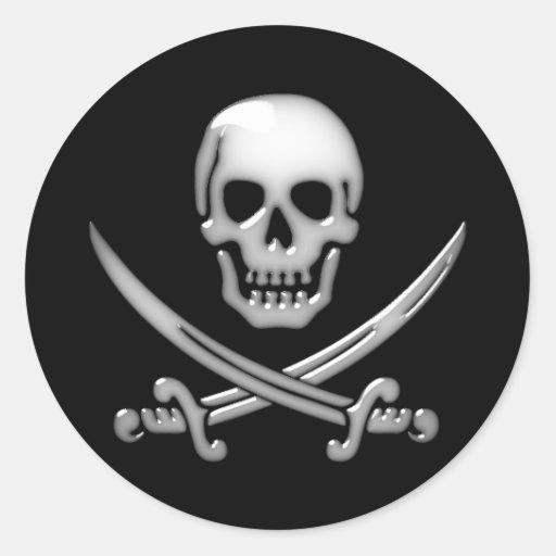 Glassy Pirate Skull & Sword Crossbones Round Stickers