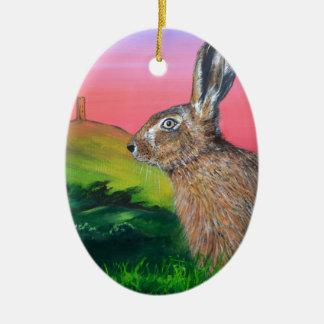 Glastonbury Hare Ceramic Oval Decoration