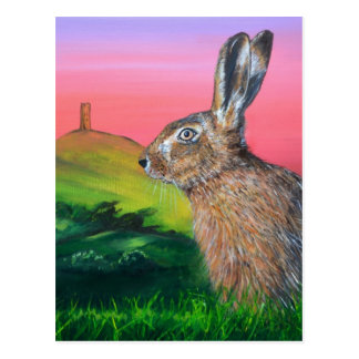 Glastonbury Hare Post Card