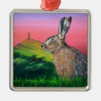 Glastonbury Hare Silver-Colored Square Decoration