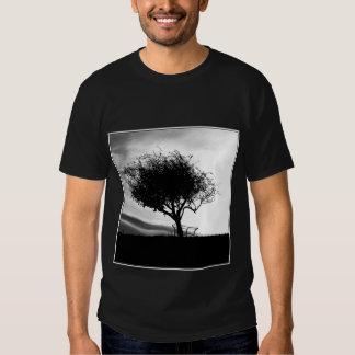 Glastonbury Hawthorn. Tree. Black and White. Tshirt