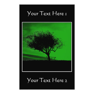Glastonbury Hawthorn. Tree on Hill. Green Black. Flyers