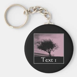Glastonbury Hawthorn. Tree on Hill. Pink, Black. Key Ring