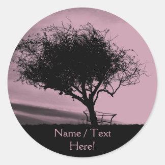 Glastonbury Hawthorn. Tree on Hill. Pink, Black. Round Sticker