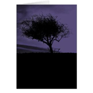 Glastonbury Hawthorn. Tree on Hill. Purple Black. Card