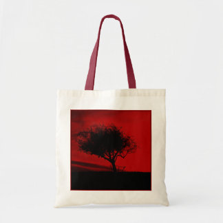 Glastonbury Hawthorn. Tree on Hill. Red and Black. Tote Bag