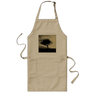 Glastonbury Hawthorn. Tree on Hill. Sepia Color. Long Apron