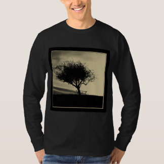 Glastonbury Hawthorn. Tree on Hill. Sepia Color. T-Shirt