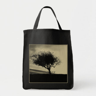 Glastonbury Hawthorn. Tree on Hill. Sepia Color. Tote Bag