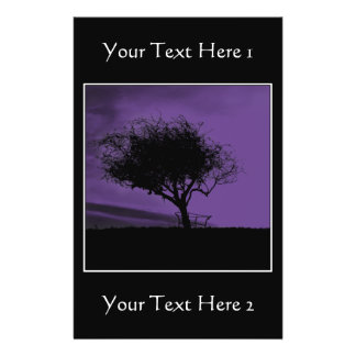 Glastonbury Hawthorn. Tree on Hill. Violet, Black. 14 Cm X 21.5 Cm Flyer