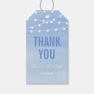 Glaucous Blue Watercolor Stringlights Thank You Gift Tags