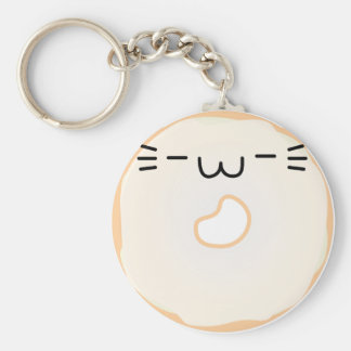 Glazed Cat Donut Keychain Stretched