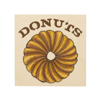 Glazed French Twist Donut Doughnut Food Foodie Wood Wall Decor