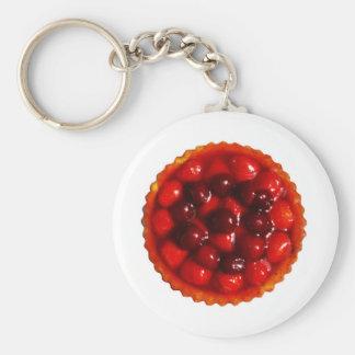 glazed strawberry flan key ring