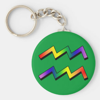 GLBT Aquarius Basic Round Button Key Ring
