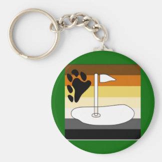 GLBT Bear Pride Golfing Adventure Basic Round Button Key Ring