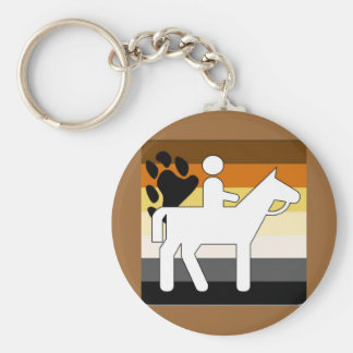 GLBT Bear Pride Horseback Riding Basic Round Button Key Ring