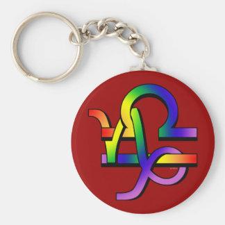 GLBT Capricorn & Libra Basic Round Button Key Ring
