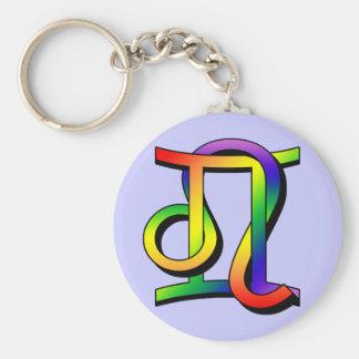 GLBT Gemini & Leo Basic Round Button Key Ring