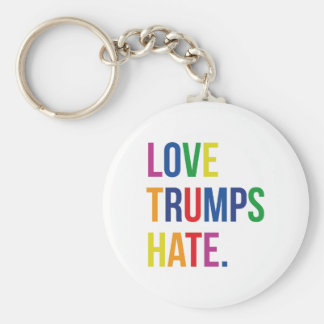 GLBT Love Trumps Hate Basic Round Button Key Ring