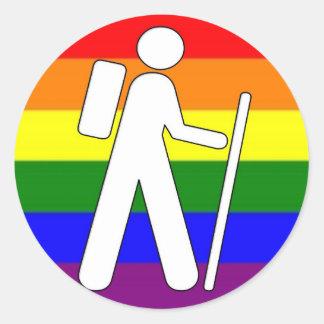 GLBT Pride Hiking Classic Round Sticker
