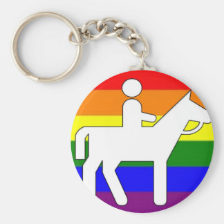 GLBT Pride Horseback Riding Basic Round Button Key Ring