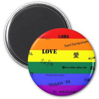 "GLBT Pride: ""Love"" in Many Languages 6 Cm Round Magnet"