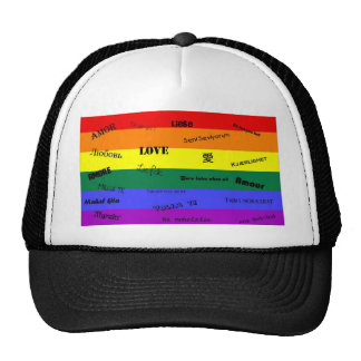 GLBT Pride Love in Many Languages Hats