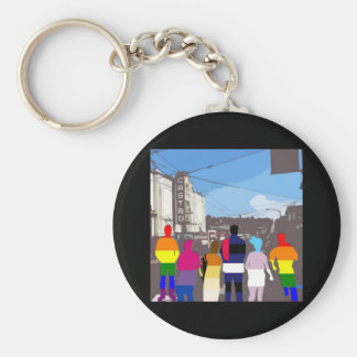 GLBT Pride People in the Castro #2 Basic Round Button Key Ring