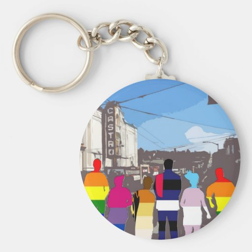 GLBT Pride People in the Castro #2 Keychains