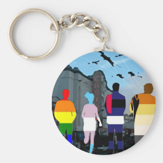 GLBT Pride People in the Castro Keychains