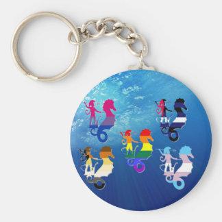 GLBT Pride School of Seahorses Basic Round Button Key Ring