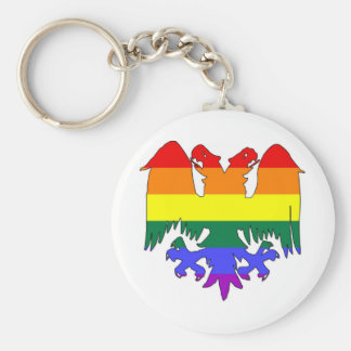 GLBT Rainbow Pride Double-Headed Eagle Basic Round Button Key Ring