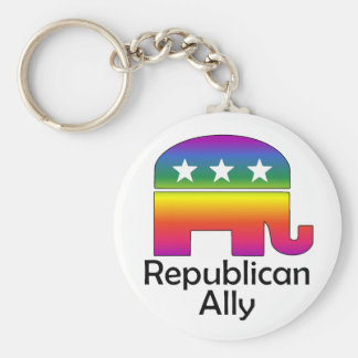 GLBT Republican Ally (2) Basic Round Button Key Ring