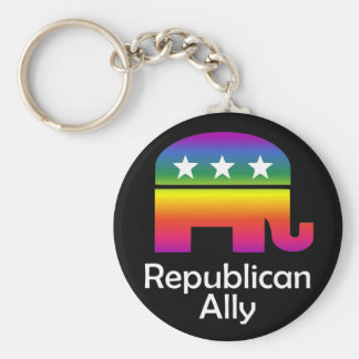GLBT Republican Ally Basic Round Button Key Ring