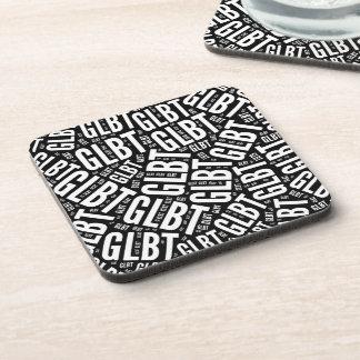 GLBT WORD PATTERN WHITE - png Beverage Coasters