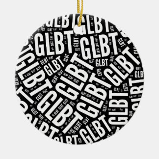 GLBT WORD PATTERN WHITE -.png Round Ceramic Decoration