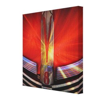 Gleaming Chrome V8 Emblem Stretched Canvas Print