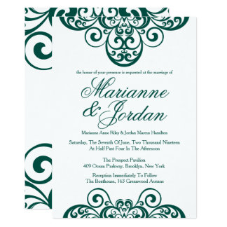 Gleaming Emerald Green Ornate Wedding Invitations