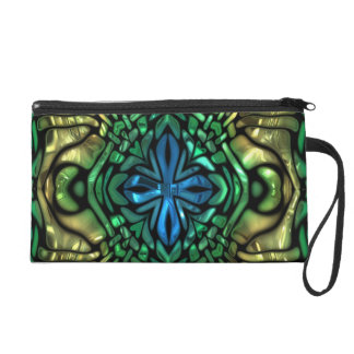 Gleaming Glamour Green Gold Blue Mosaic Wristlet Clutch
