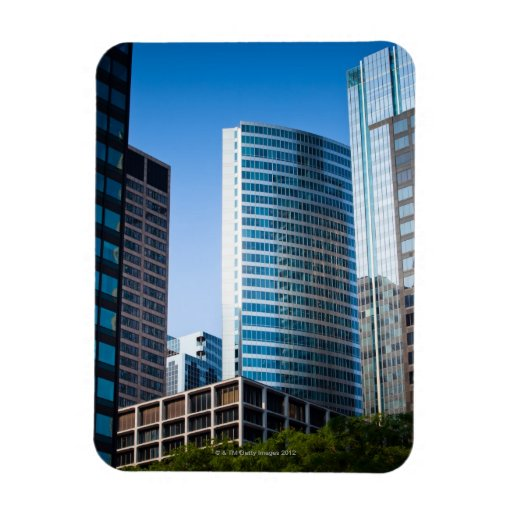 Gleaming skyscrapers in Chicago's financial Rectangular Magnets