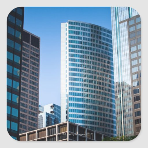 Gleaming skyscrapers in Chicago's financial Square Sticker