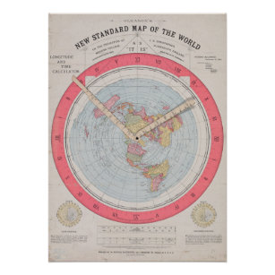 Gleason's new standard map of the world poster