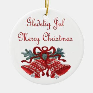 Gledelig Jul Round Ceramic Decoration