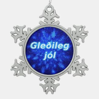 Gleðileg jól - Snowburst Snowflake Pewter Christmas Ornament